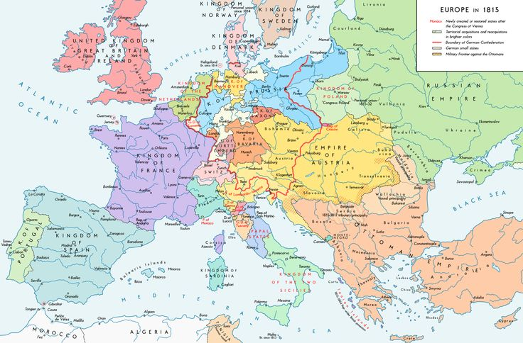 A map of Europe after the Congress of Vienna, 1815.