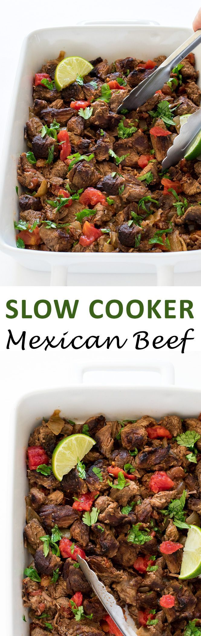 Super Easy Slow Cooker Mexican Beef. Cooked low and slow for 8 hours until fall apart tender! | chefsavvy.com #recipe #slow #cooker #mexican #beef