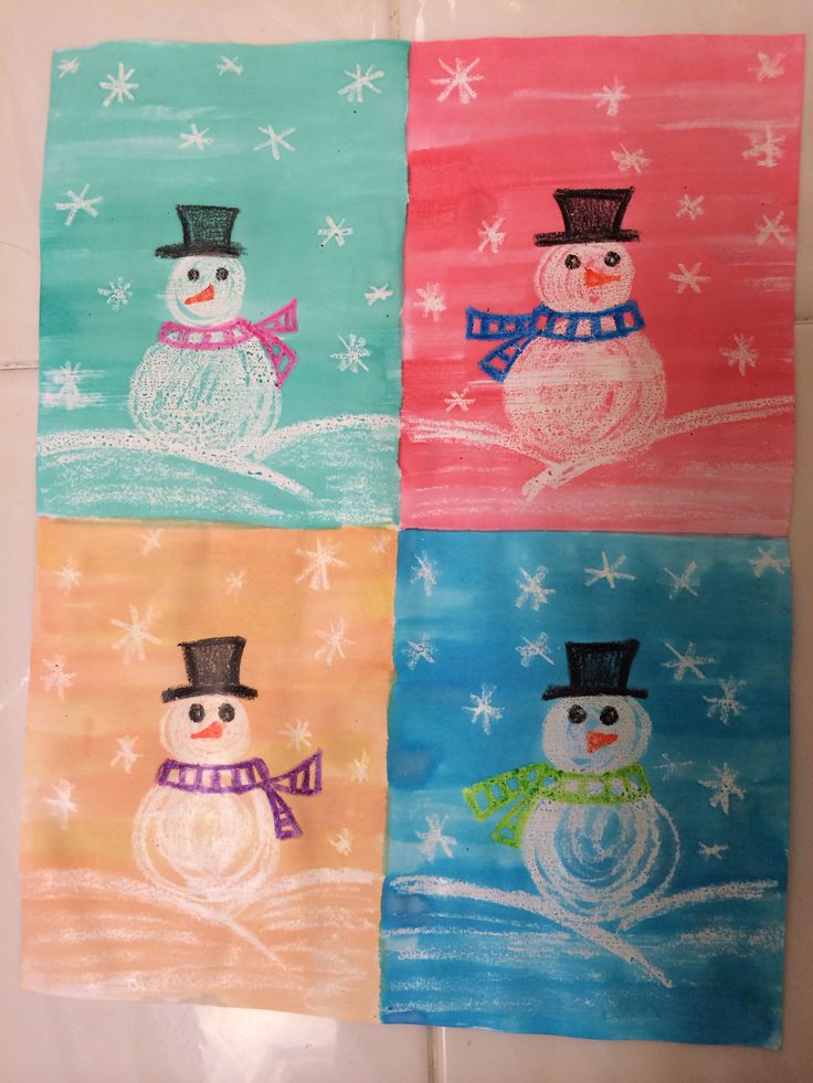 Andy Warhol inspired snowman art. Fold a regular paper in four equal parts. Students create a snowman scene using only crayon on each part, and then paint over each section using a different colour watercolour.