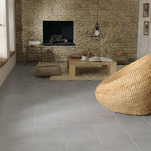 Carrelage sol gris pireo 30 x 60 cm castorama for Salon contemporain gris