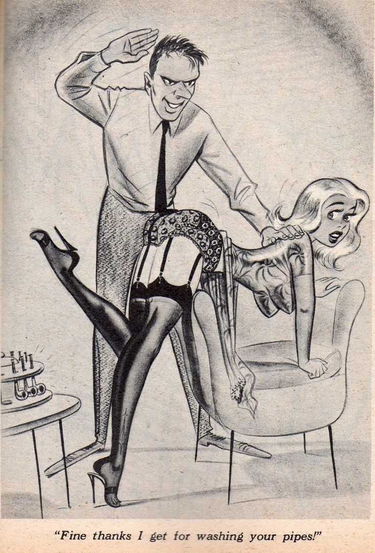 Humorama Bill Ward Wife Bends Over Chair For Spanking -6505