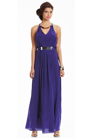 Truese Hampton dress in purple. Gorgeous new colour in this best selling formal style. Features neck and belt detail $299.95