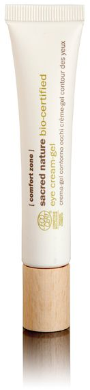 #ComfortZone #SacredNature Eye Cream Gel. An effective action against under-eye bags, dark circles and wrinkles, leaving the skin soft and nourished and also protected, whilst also respecting the environment. With caffeine, hyaluronic acid, buriti oil, karitè butter, orange distilled water & butterfly bush extract.