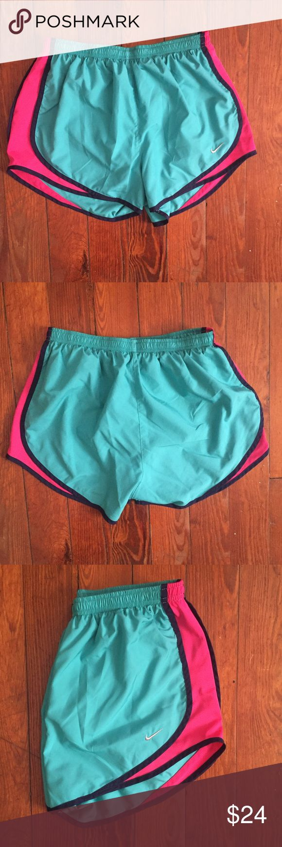 Nike Dri-Fit Teal Shorts Teal Nike shorts with magenta stripe. Size M. Nike Shorts