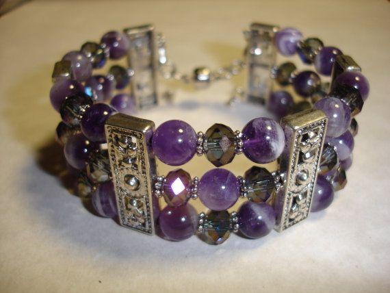 DIY Gemstone Memory Wire Cuff Kit in Amethyst. by Zilchbeads