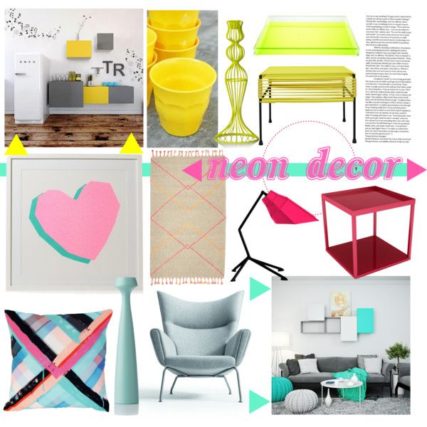 """""""Neon Decor with TETREES Modular Furniture"""" by tetrees on Polyvore #tetrees #modular #neon #furniture #office #livingroom #kitchen"""