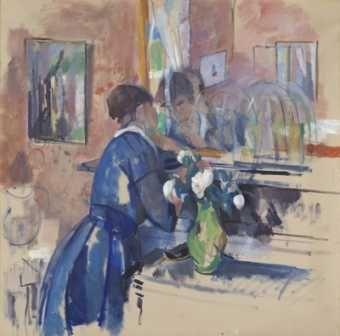 Rik Wouters - Dame in het blauw voor een spiegel (1914) - Koninklijke Musea voor Schone Kunsten Brussel