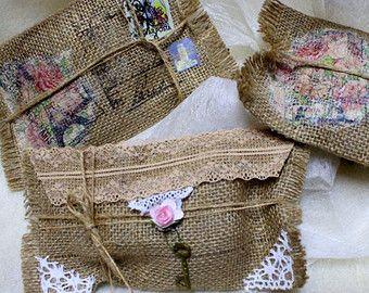 Toile de jute enveloppe mariage invitation carte favor sac cadeau sac nuptiales de douche rustique vintage shabby chic dentelle Hesse poche timbres de Noël