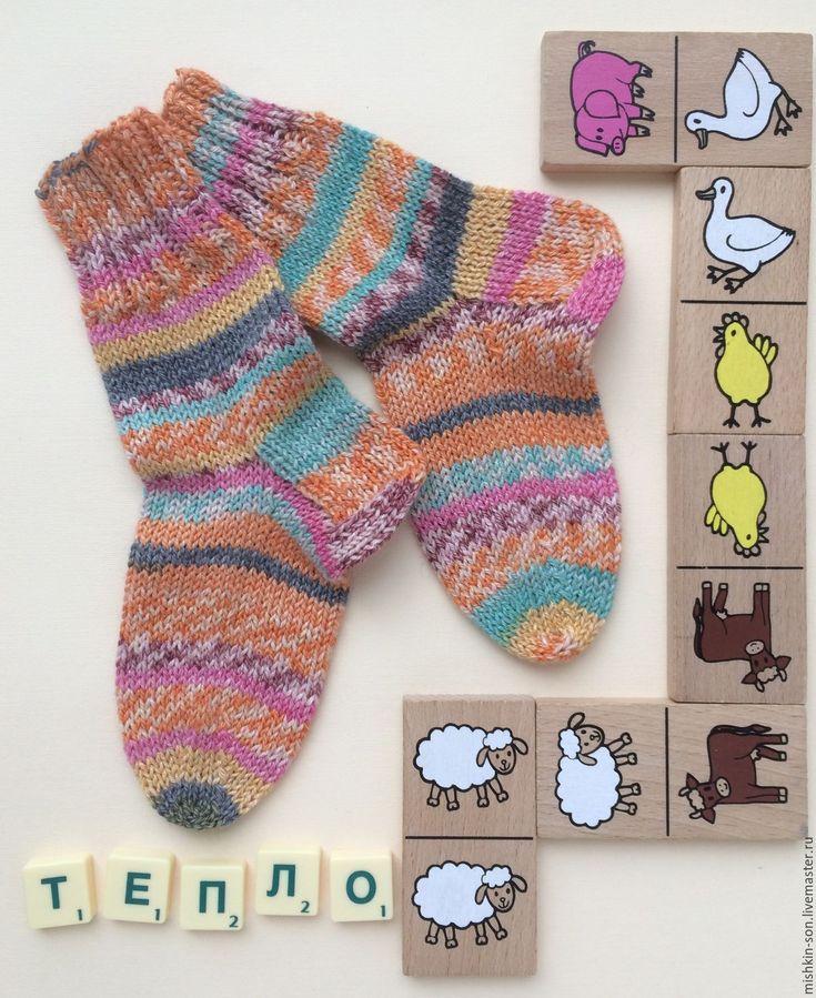 Купить Носки детские Домино - рыжий, носки ручной работы, носки, носочки, носки вязаные
