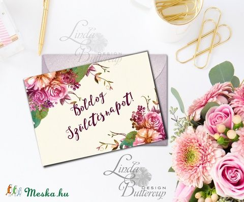 Szülinapi képeslap, Virágos képeslap, virágos kép, Születésnapi Képeslap, Vintage Képeslap, Naptár, képeslap, album, Dekoráció, Képeslap, levélpapír, Ajándékkísérő, Meska