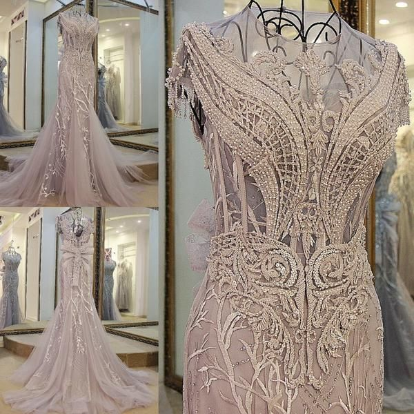 AHS015 New Arrival Mermaid Scoop Neck Gray Prom Dresses with White Lace Train 2017