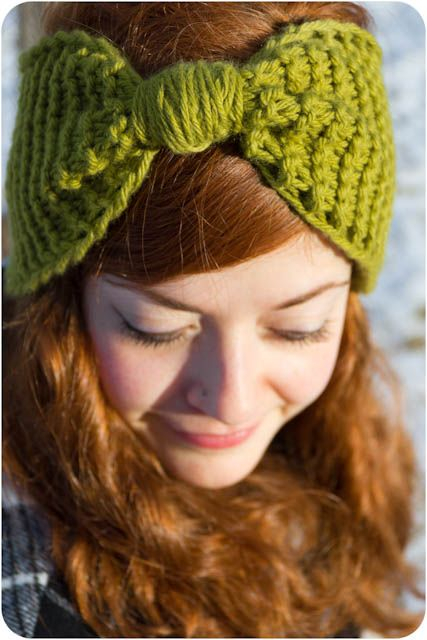 Now I CAN do this one...  Kitten's Lost Her Mittens: Knit Bow Ear Warmer With Pattern/Tutorial