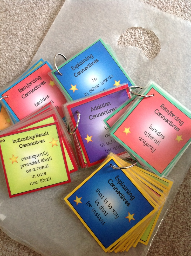 Make your own connective keyrings to support pupils in their writing.