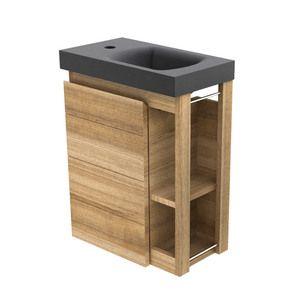 : Matières : Structure : frêne massifCôtés et porte : plaqué frênePlan vasque : résine de synthèse avec trop plein intégré Dimensions meuble sous vasque : Longueur : 40.5...