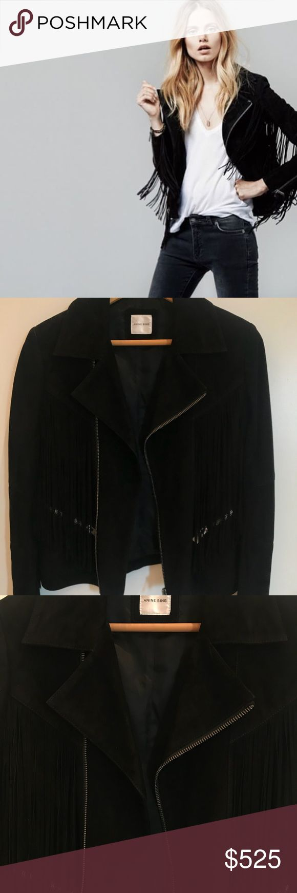Anine Bing Fringe Suede Jacket Amazing Suede Jacket with beautiful fringe detail! Beautifully crafted. Black. Size Small and fits tts. Mint condition, worn only a few times. Grab it quick, Coachella is coming! Anine Bing Jackets & Coats