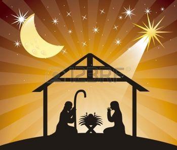 religious christmas: black silhouettte nativity scene over evening. vector illustration Illustration
