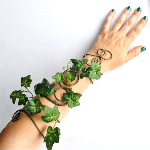 Poison ivy long lower arm cuff fairy arm cuff mother nature whimsical... ($48) ❤ liked on Polyvore featuring costumes