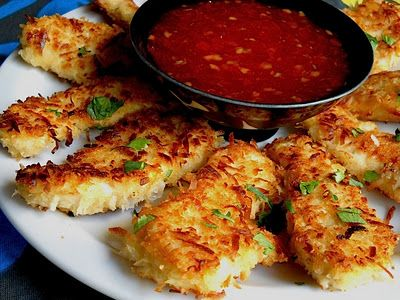 Coconut Chicken with Sweet Chili Dipping Sauce. Oh my yumminess! More