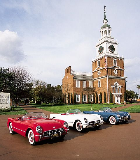Red, White & Blue 1953 Chevy Corvettes at the Henry Ford Museum, Dearborn, MI. They originally only came in white. The first Corvette rolled off the assembly line June 30, 1953 in Flint, MI.