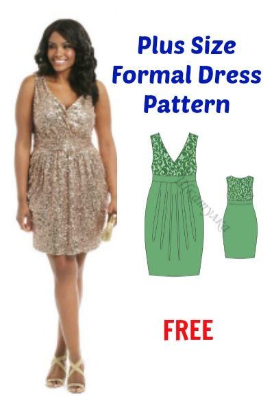 plus Größe formales Kleid Muster