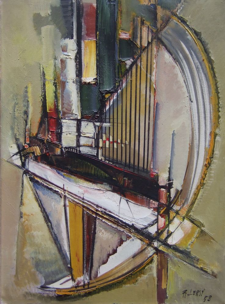 Roger Lersy (1920-2004) / Le piano vert, 1958 / Huile sur toile / Signé et daté en bas à droite / Titré au revers sur l'étiquette d'exposition / 100 x 73 cm