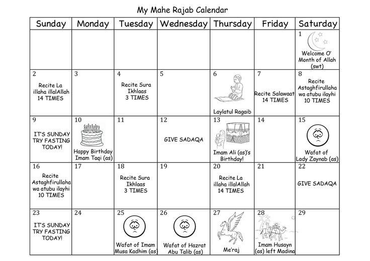 Rajab Calendar by Muslim Kids