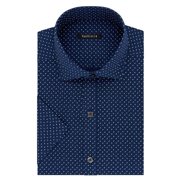 Men's Van Heusen Fresh Defense Slim-Fit Dress Shirt, Size: XXL18.5-19, Blue (Navy)