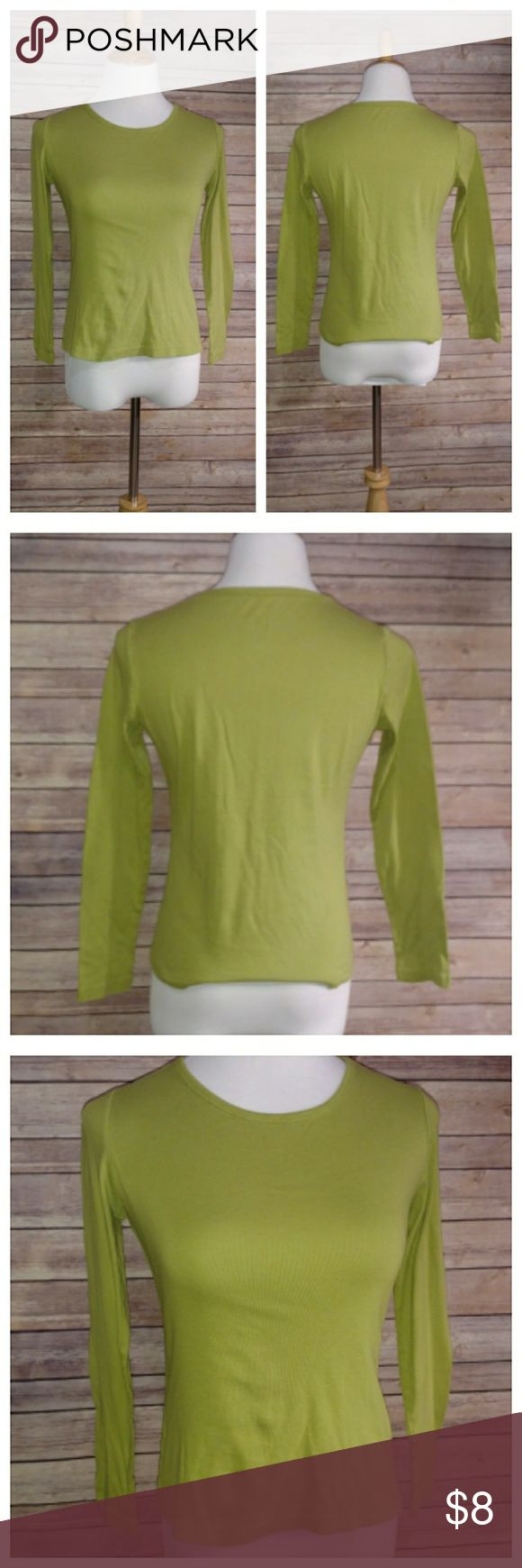 Green Long Sleeve top St. John's Bay.   Size: small petite Light green, lime green.   Comfortable and casual. Great under vests too. St. John's Bay Tops Tees - Long Sleeve
