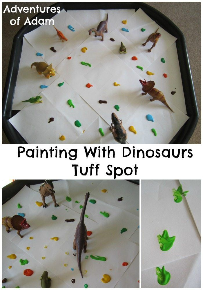Our challenge was to paint with toys. Adam's new love is Dinosaurs so we created a Dinosaur Painting Tuff Spot.
