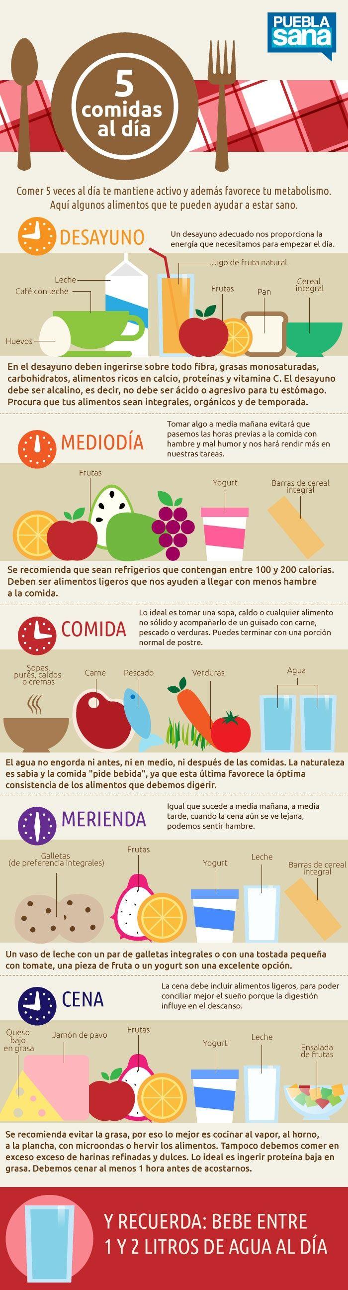 Infografía cinco comidas al día