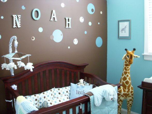 Noahs Nursery , wood letters , blue brown , giraffe