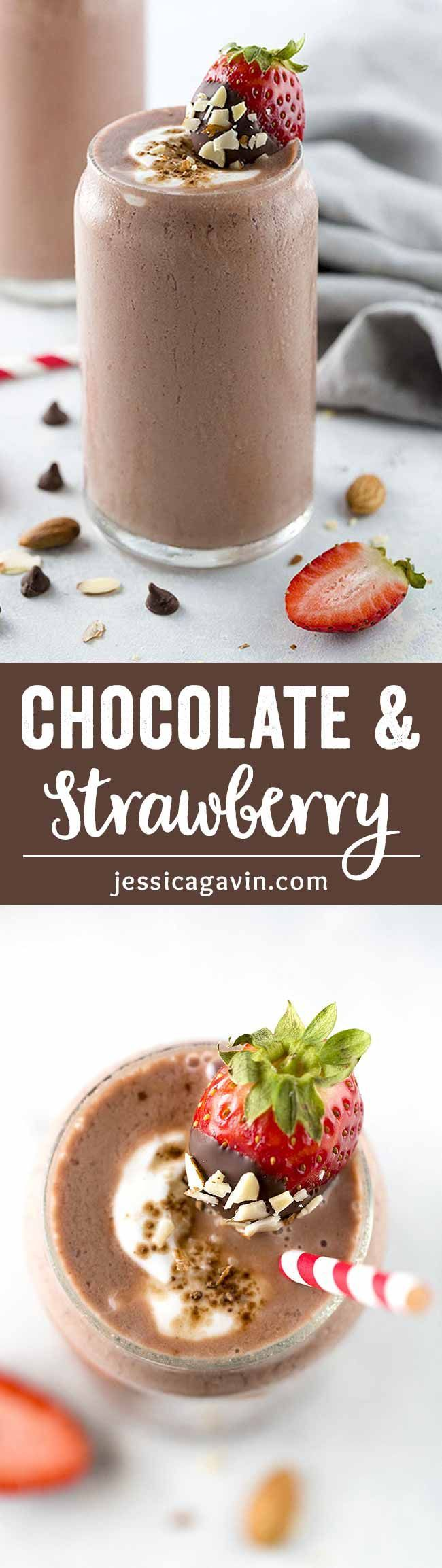 Chocolate Covered Strawberry Smoothie with Almonds - The perfect healthy beverage to share with that special someone! A cool creamy blend of cocoa, strawberries, almonds, bananas and flaxseed. via @foodiegavin