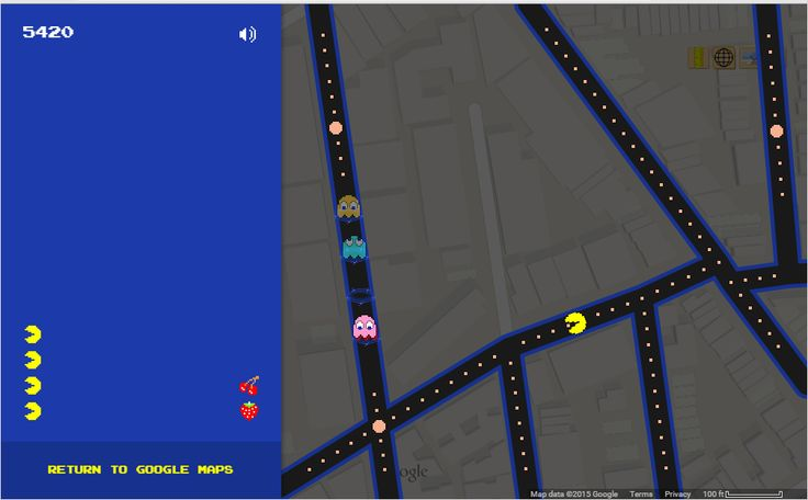 """PacBush"". For April Fool's, Google allowed you to change nearly any place on a map into a PacMan board. One of the places I chose was the block I grew up on. But apparently, the game can't handle dead ends, so our block is not playable. When you go off the screen on one edge, you come out on the nearest street on the other side. The PacMan game I first played back then was in a pizza shop around the corner (on Flatbush) from PacMan's starting place (Ditmas between 22nd and 23rd)."