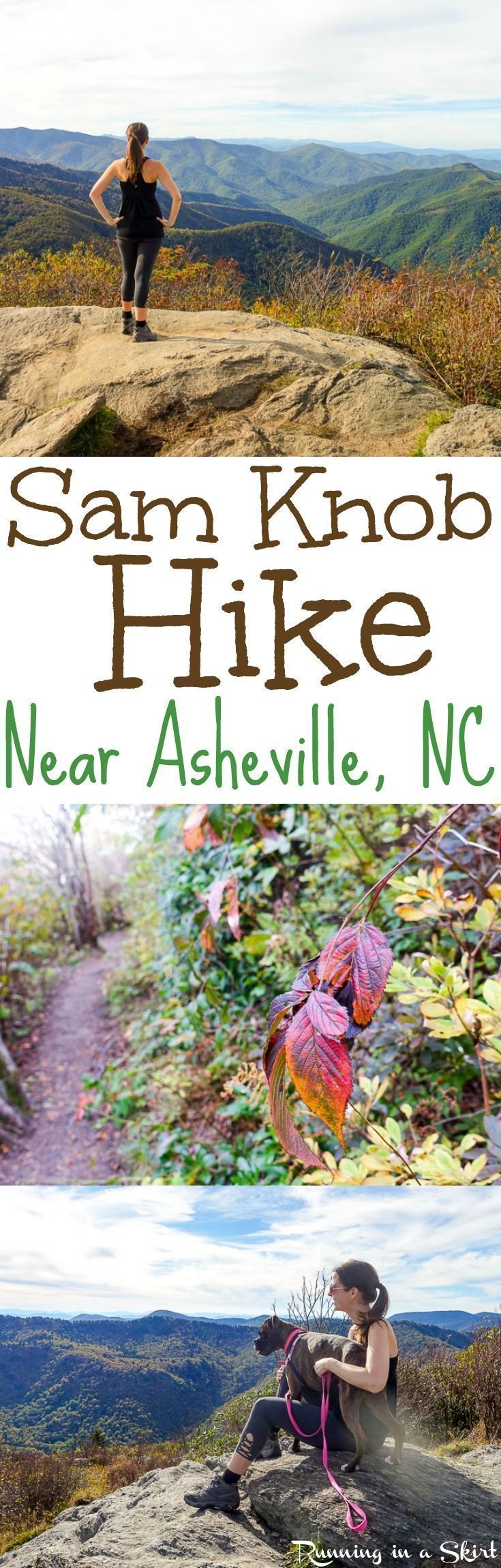 Sam Knob Hike - Details about this gorgeous 2 1/12 mile summit view day hike along the Blue Ridge Parkway near Asheville, North Carolina. Beautiful NC Mountains fall views and one of my favorite Asheville hikes. / Running in a Skirt #fallhiking #fallhikingmountain