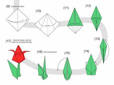 Tulipan origami paso a paso hoja origami pinterest - Papiroflexia paso a paso ...