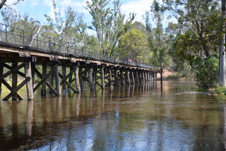 Locals and visitors alike gathered on the old railway bridge to observe the river in flood. No property was at risk and the water levels are falling, having peaked at 5.61 metres around 11 am on 25 January 2016. #nannup #flood #naturallynannup