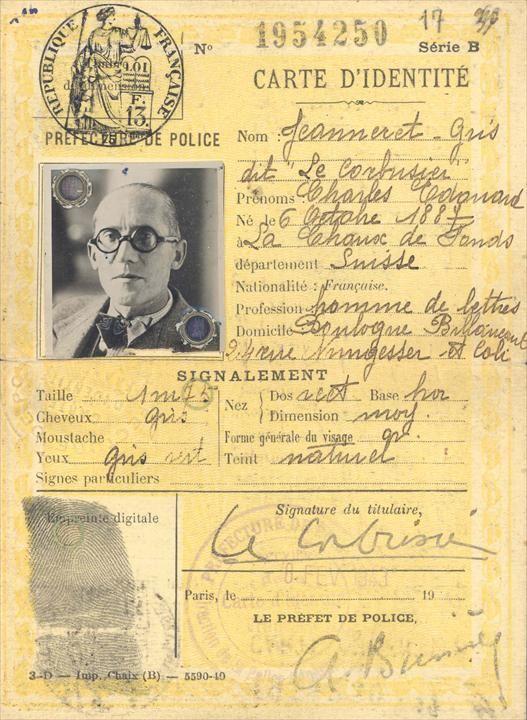 Carte d'identité de Le Corbusier - Fondation Le Corbusier - BIOGRAPHIE