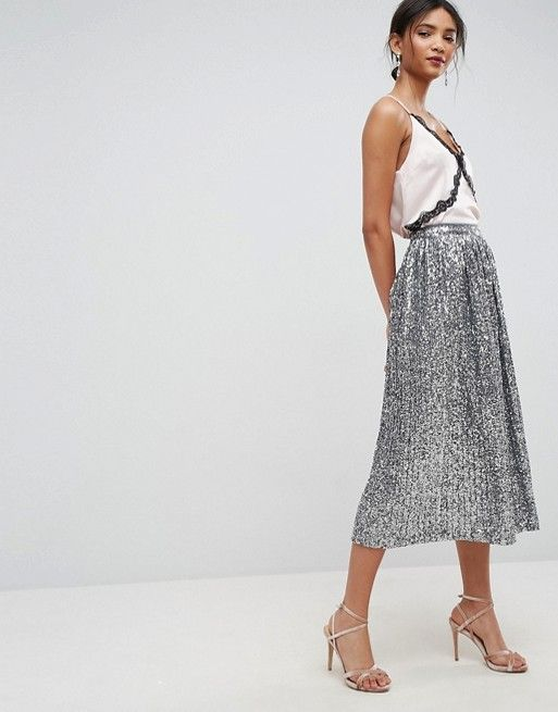 ASOS Pleated Sequin Midi Skirt | Holiday Skirts | Holiday Style | Women's Holiday Outfits | Outfit Ideas for Christmas | Holiday Outfit Ideas for Women