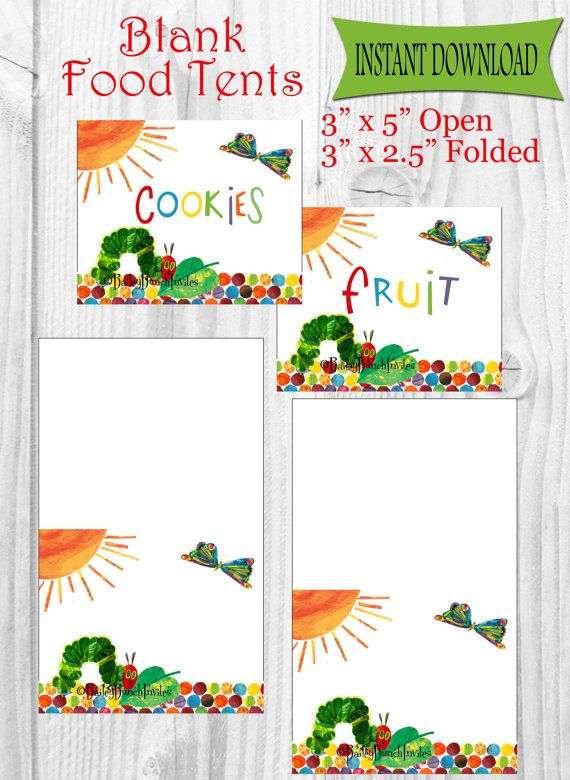 The Very Hungry Caterpillar Food Tents, Place Cards, Labels - INSTANT DOWNLOAD - Party Favors - Printable