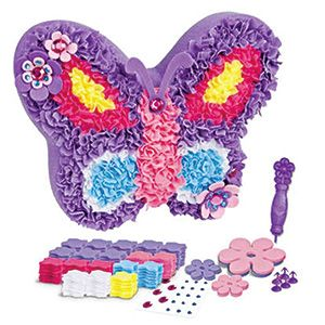 Fabric By Number (Butterfly Pillow) - No sewing required! This unique craft kit lets kids punch colorful fabric onto a pillow, creating their very own plush decoration. Features a colorful guide like a paint by number. Includes a plastic stylus and instructions. Ages 4+  (Product Number KR65041) $14.99 CAD