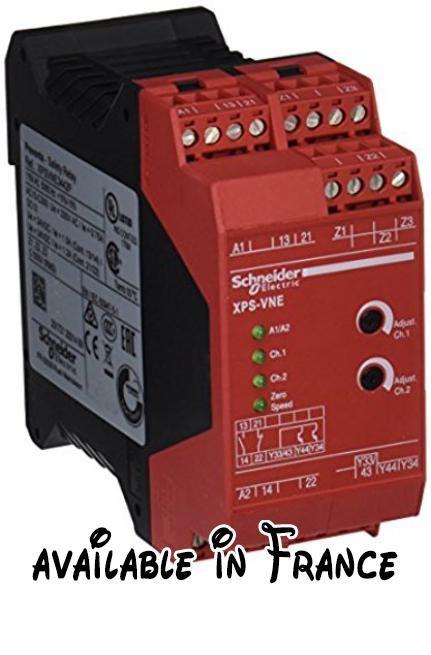 Schneider electric xpsvne3442p module xps-vn detecc vitesses zéro, 115V CC pour alimentation électrique moteur, 60Hz. Modules sécurité PREVENTA. Pour arrêt d'urgence et contrôle de commutateur. Gamme: automatiz. PREVENTA safety #BISS Basic #ELECTRONIC_COMPONENT