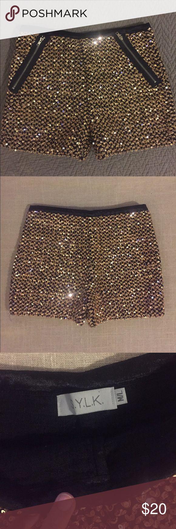 Gold sequin shorts gold sequin S.Y.L.K shorts. Size is M/L fits like S/M. Only worn once! S.Y.L.K Shorts