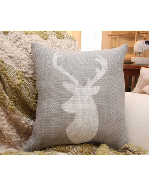 grey burlap pillow buck silhouette pillow paint silhouette of animal of choice for boys