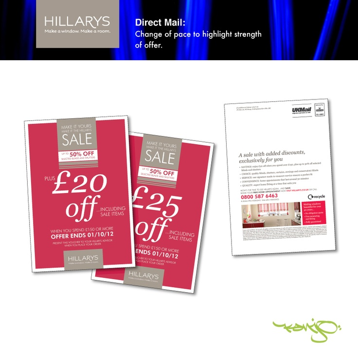 """Brand values vs. hard sell…the """"Consumer View™"""". Tactical postcard for Hillarys by Kanjo, that delivered strong response through hard messaging and a thorough understanding of the client's brand."""