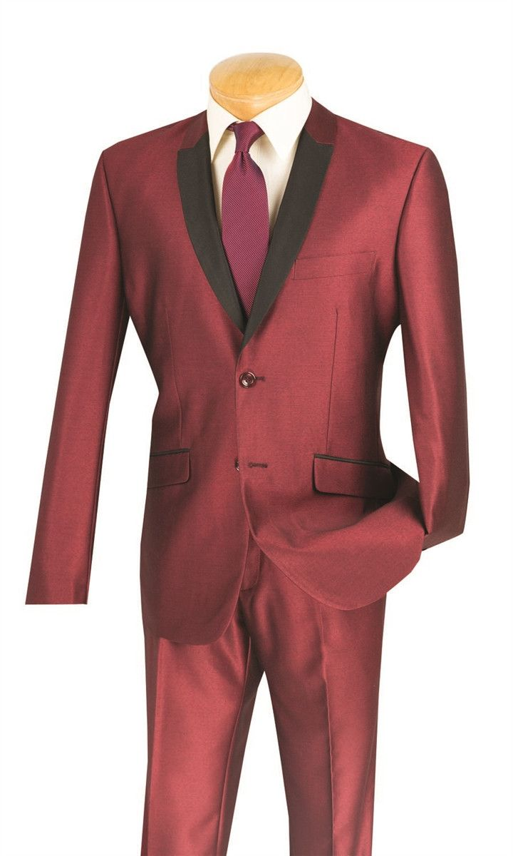 MAROON SUITS SLIM FIT MEN'S FASHION SILM SUITS SHAWL LAPEL SHARK SKIN