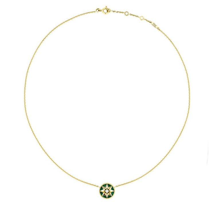Dior Rose des Vents malachite green necklace in 18-carat gold with a single diamond. http://www.thejewelleryeditor.com/shop/product/dior-rose-des-vents-malachite-necklace/ #jewelry