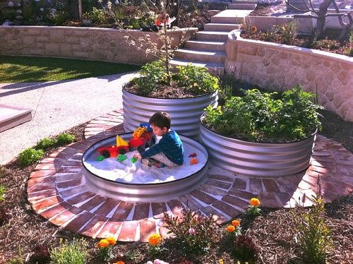 eclectic landscape by sustainable garden design perth love this idea raised bed and sand box