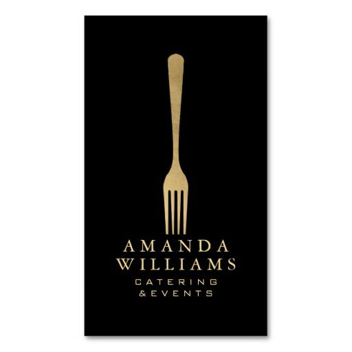 203 best catering business cards images on pinterest catering elegant faux gold fork catering logo on black ii business card colourmoves
