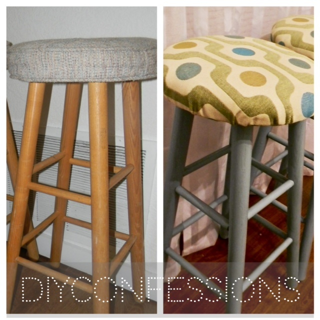 Diy Kitchen Bar Stools: Makeover Furniture! Ugly Bar Stools Turned Cute With An