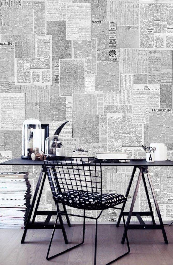 Decoreer je muur met oude tijdschriften en kranten